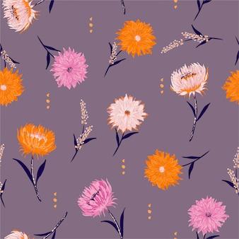 Bloeiende bloemenachtergrond. naadloze patroon