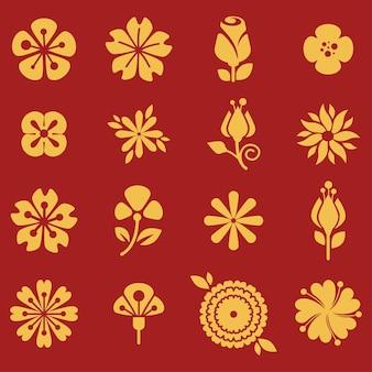 Bloeiende botanische planten op rood, lente en zomer bloeiend. gouden bloemblaadjes en bladeren van tulp, madeliefje en orchidee. biodiversiteit en heropleving van flora. biologische boeketten, vector in vlakke stijl