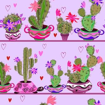 Bloeiende cactussen in grappige potten. naadloos patroon.