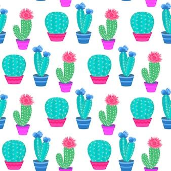 Bloeiende cactussen in potten. home planten. cactus naadloos patroon.