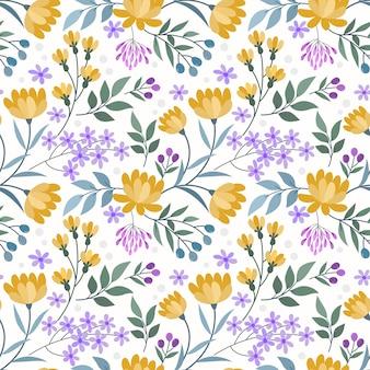 Bloeiende gele bloemen en kleine paarse bloemen naadloze patroon.