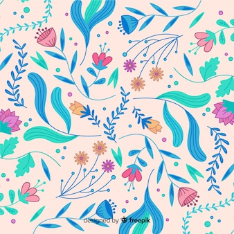 Bloeiende handgetekende bloemenachtergrond