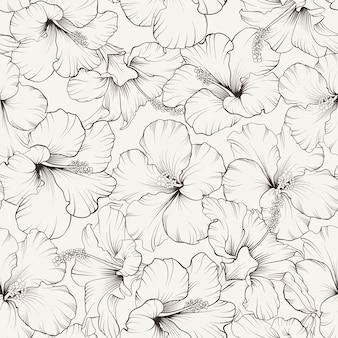 Bloeiende hibiscus naadloze patroon