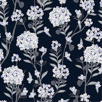 Bloeiende hortensia bloemen naadloze patroon