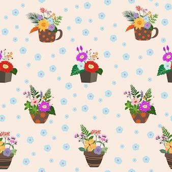 Bloeiende kleurrijke bloemen op potten naadloos patroon
