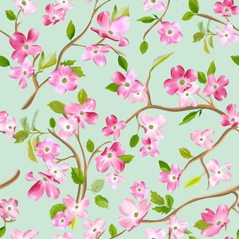 Bloeiende lente bloemen patroon achtergrond