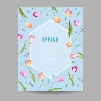 Bloeiende lente en zomer bloemen frame
