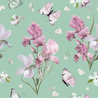 Bloeiende lente kleurrijke bloemen patroon achtergrond. naadloze modedruk in vector