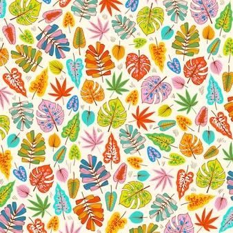 Bloeiende lentebladeren op stoffenpatroon