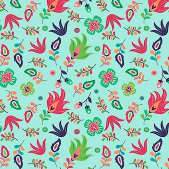 Bloeiende lentebloemen op stoffenpatroon
