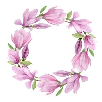Bloeiende magnolia rond frame. handgemaakte aquarel magnolia bloemen voor uitnodigingen, bruiloft decor