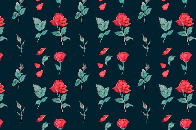 Bloeiende rode roos patroon achtergrond