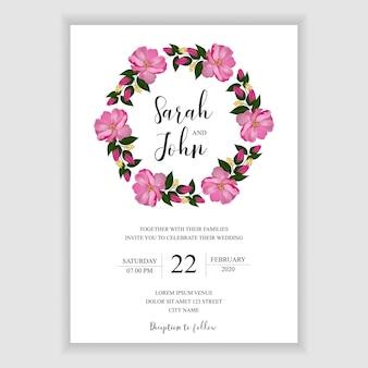 Bloeiende roos bruiloft uitnodiging sjabloon