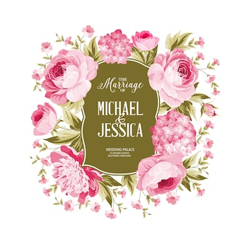 Bloeiende roos en hortensia frame kaart.