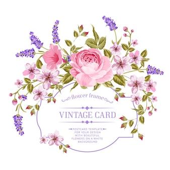 Bloeiende roos en lavendel frame kaart.