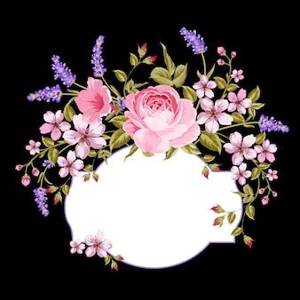Bloeiende roos en lavendel op de zwarte achtergrond