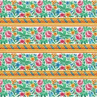Bloeiende roos vector patroon achtergrond vintage stijl