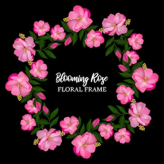 Bloeiende roze bloem cirkelframe