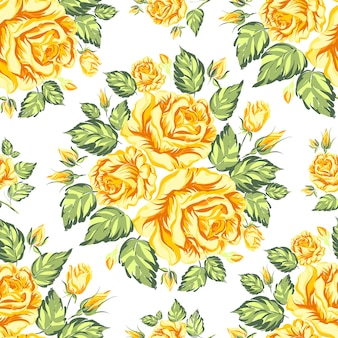 Bloeiende rozen naadloze patroon