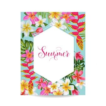Bloeiende zomer floral frame. tropische bloemen