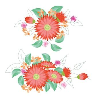 Bloeit dahlia boeketten bloemen Premium Vector