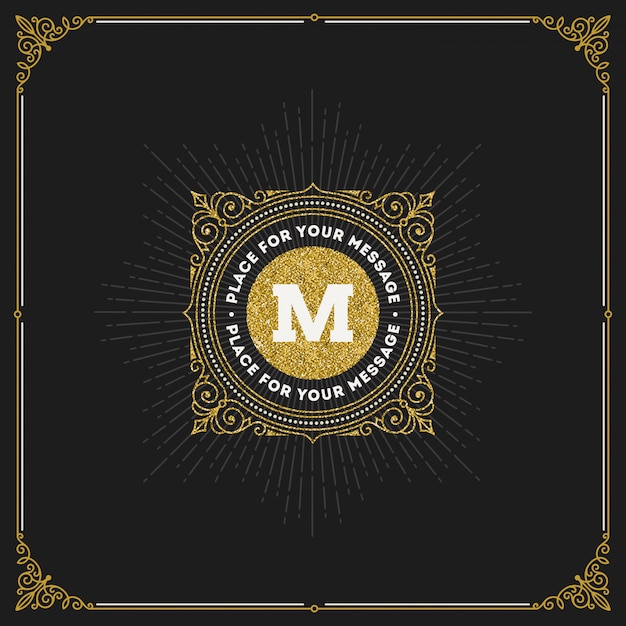 - bloeit glitter gouden monogram logo.
