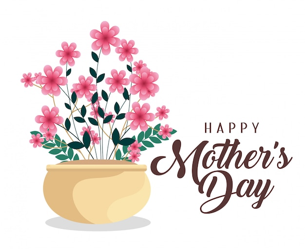 Bloeit planten tot gelukkige moederdagviering