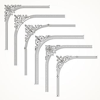 Bloeit sierlijke frame- of grenshoekelementen. illustratie.