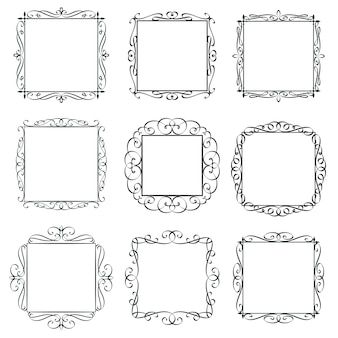 Bloeit vintage frames set. kalligrafische ontwerpelementen, sierlijke rand, decoratieve typografie pagina sjabloon kaart uitnodiging. monogram retro etiketten.