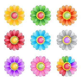 Bloem 8 kleuren en 1 regenboog.