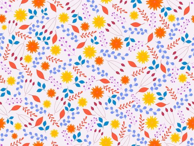 Bloem, bladeren en bessen takken naadloos patroon