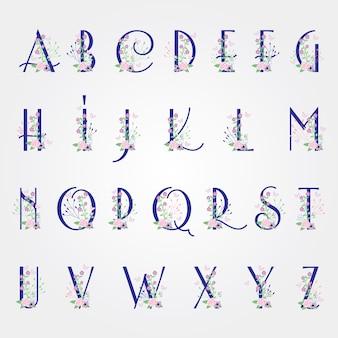 Bloem bloei lettertype alfabet - voorjaar vector alfabet met bloemen en bladeren