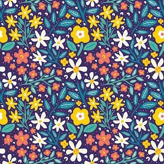 Bloem bloeien en gebladerte lente natuur naadloze patroon