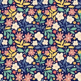 Bloem bloeien en kleurrijke gebladerte lente natuur naadloze patroon
