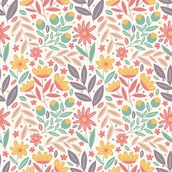 Bloem bloeien met gebladerte kleurrijke naadloze patroon