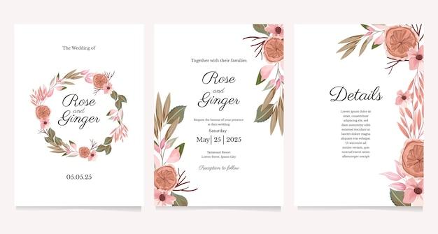 Bloem bruiloft uitnodiging sjabloon set