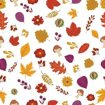 Bloem en blad in de herfst naadloos patroon.