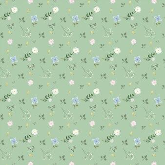 Bloem en bladpatroonachtergrond op groene achtergrond wordt geïsoleerd die
