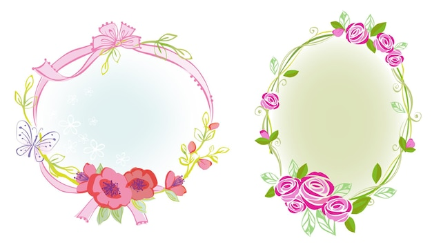 Bloem en lint frame illustratie met prinses thema ontwerp