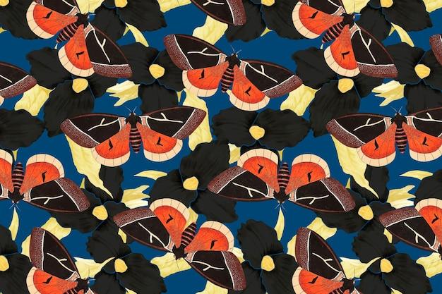 Bloem en vlinder abstracte patroon vector, vintage remix van the naturalist's miscellany door george shaw