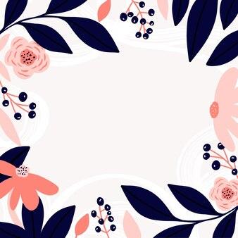 Bloem frame met bloemen en bladeren abstracte planten bladeren bloemen heldere abstractie
