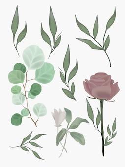 Bloem gebladerte realistische mesh botanische illustraties instellen. grafische elementen voor bruiloftsontwerp, posters, ansichtkaarten.