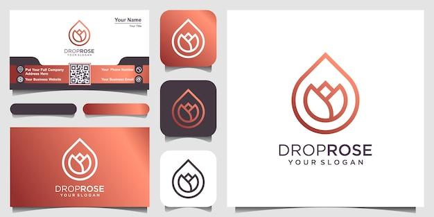 Bloem gecombineerd met etherische oliedruppels ziet er minimalistisch en schoon uit. logo-ontwerp en visitekaartje