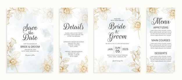 Bloem gouden bruiloft uitnodigingskaart sjabloon set met aquarel bladeren decoratie