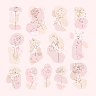 Bloem hand getekende vector set enkele lijn kunst met roze memphis design