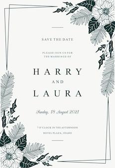 Bloem handgetekende bruiloft uitnodiging sjabloon
