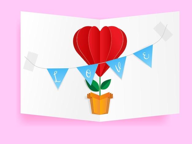 Bloem hart van liefde valentijn wenskaart, papier ambachtelijke bloem hartvorm en vlag met liefdesbrieven