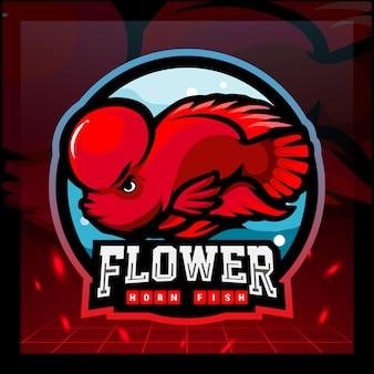 Bloem hoorn vis mascotte esport logo ontwerp