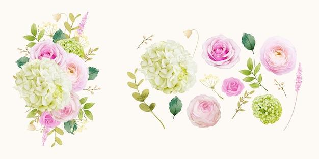 Bloem illustraties van roze rozen en hortensia