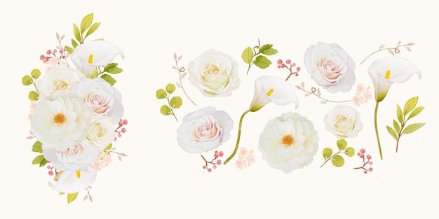 Bloem illustraties van witte rozen en calla lelie